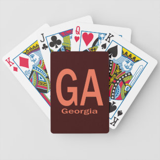 GA Georgia  plain orange Bicycle Playing Cards