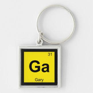 GA - Símbolo de la tabla periódica de la química d Llavero Cuadrado Plateado