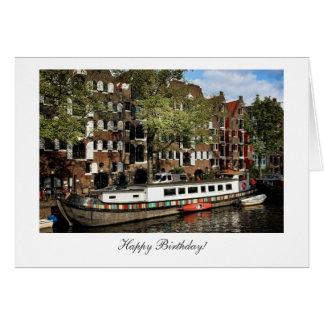 Gabarra del canal de Amsterdam - feliz cumpleaños Tarjeta De Felicitación