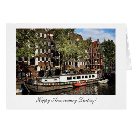 Gabarra del canal de Amsterdam - querido feliz de  Felicitaciones