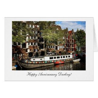 Gabarra del canal de Amsterdam - querido feliz de Tarjeta De Felicitación