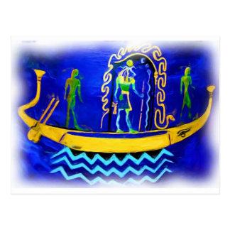 Gabarra egipcia del barco (en el aceite 2) postales
