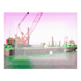 Gabarra flotante con la grúa verde y púrpura enton membrete personalizado