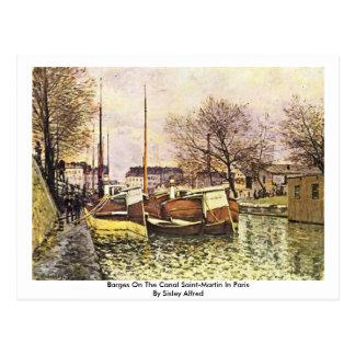Gabarras en el canal San Martín en París Tarjetas Postales