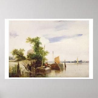 Gabarras en un río, c.1825-26 (aceite en el cartón póster