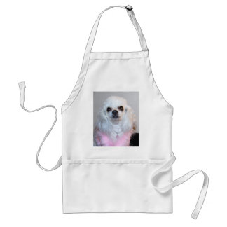 Gabby white poodle fancy dressed in Pink Adult Apron