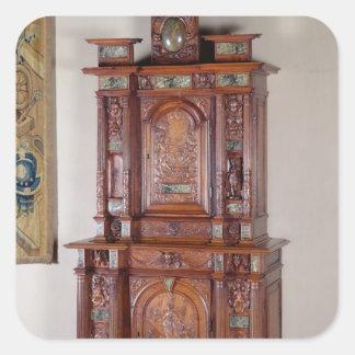Gabinete con dos secciones, y una puerta doble calcomanías cuadradass