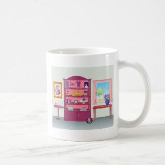Gabinete de exhibición en un cuarto taza de café