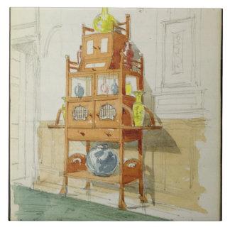 Gabinete de la exposición, c.1860s-70s (w/c y lápi azulejo cuadrado grande