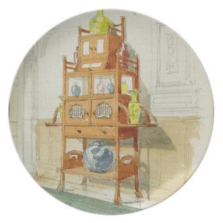 Gabinete de la exposición, c.1860s-70s (w/c y lápi platos para fiestas