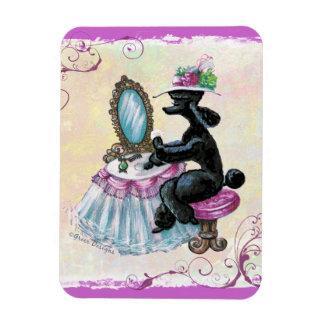 Gabinete de señora retro del caniche negro imán foto rectangular