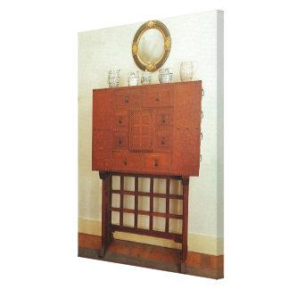 Gabinete en soporte impresiones en lienzo estiradas
