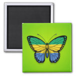 Gabon Butterfly Flag on Green Refrigerator Magnets