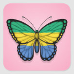 Gabon Butterfly Flag on Pink Square Sticker