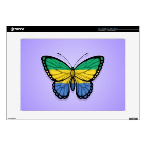 Gabon Butterfly Flag on Purple Laptop Decal