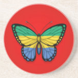 Gabon Butterfly Flag on Red Beverage Coasters