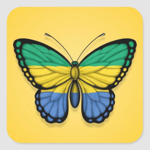 Gabon Butterfly Flag on Yellow Square Sticker