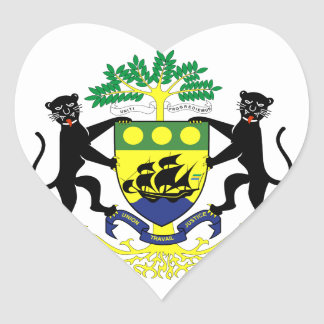 Gabon Coat of arms GA Heart Sticker