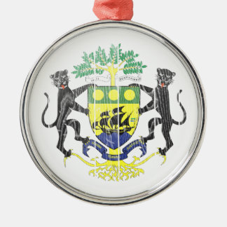 Gabon Coat Of Arms Round Metal Christmas Ornament