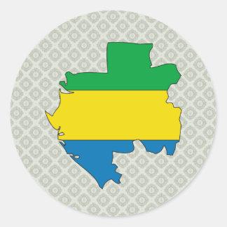 Gabon Flag Map full size Classic Round Sticker