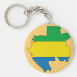 Gabon flag map keychains