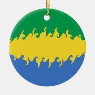 Gabon Gnarly Flag Ceramic Ornament
