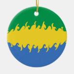 Gabon Gnarly Flag Christmas Ornament