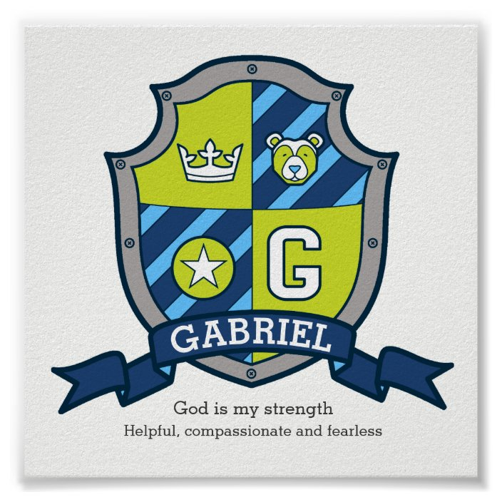 Gabriel Boys Name Meaning Heraldry Bear Crest Poster Zazzle Com