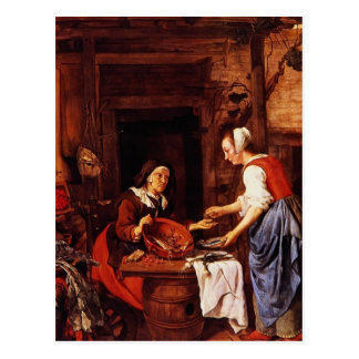 Gabriel Metsu- An Old Woman Selling Fish Postcards