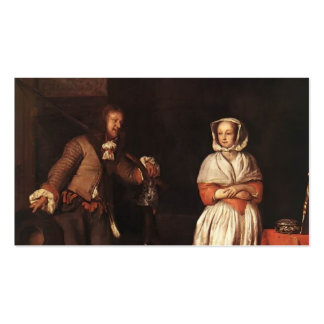 Gabriel Metsu- The Huntsman and the Lady Business Card Templates