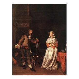 Gabriel Metsu- The Huntsman and the Lady Post Card
