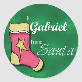 Gabriel Personalized Christmas Label51 Classic Round Sticker