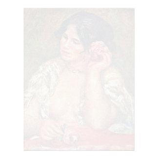 Gabriela con color de rosa de Pierre-Auguste Plantillas De Membrete