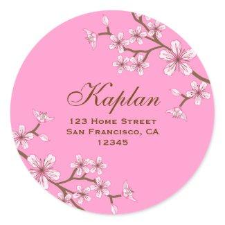"Gabriella 3"" Pink Blossoms Round Address Label"
