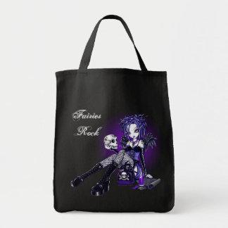 """""""Gabriella"""" Gothic Blue Purple Angel Skull Art Bag"""