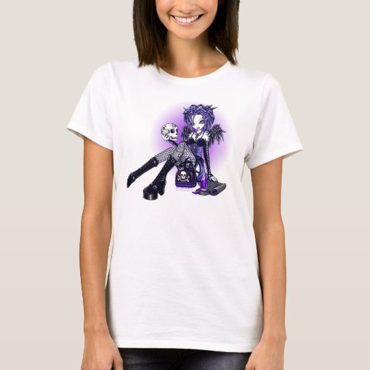 """Gabriella"" Gothic Blue Purple Angel Skull Art Top"