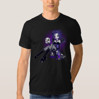 """Gabriella"" Gothic Blue Purple Angel Skull Art Top T Shirt"