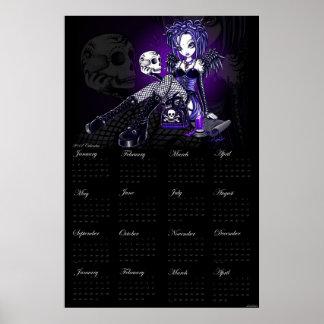 Gabriella Gothic Blue Skull Angel 2012 Calendar Poster