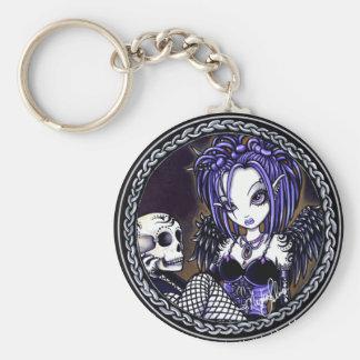 Gabriella Gothic Blue Skull Angel Keychain