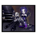 Gabriella Gothic Blue Skull Angel Poster print