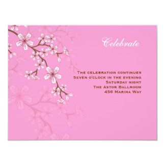 Gabriella Pink Blossoms Bat Mitzvah Reception Card