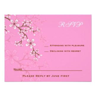 Gabriella Pink Blossoms Bat Mitzvah RSVP Invitations