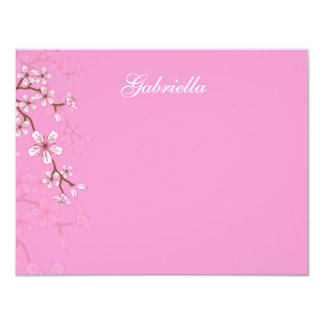 Gabriella Pink Blossoms Bat Mitzvah Thank You Card