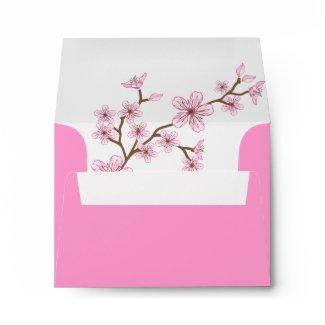 Gabriella Pink Blossoms Bat Mitzvah Thank You Envelope