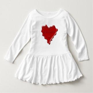 Gabriella. Red heart wax seal with name Gabriella. Dress