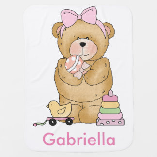 Gabriella's Teddy Bear Personalized Gifts Stroller Blanket