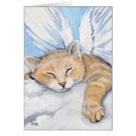 Gabrielle, Angel Cat in Clouds Painting Note Card