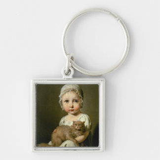 Gabrielle Arnault (1811-72) 1813 (oil on canvas) Silver-Colored Square Keychain