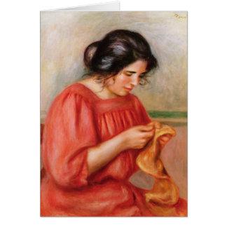 Gabrielle darning, 1908 card