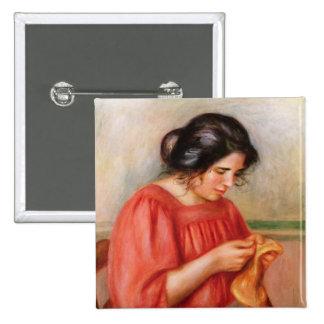 Gabrielle darning, 1908 pinback button